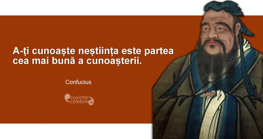 """""""A-ți cunoaște neștiința este partea cea mai bună a cunoașterii."""" Confucius"""