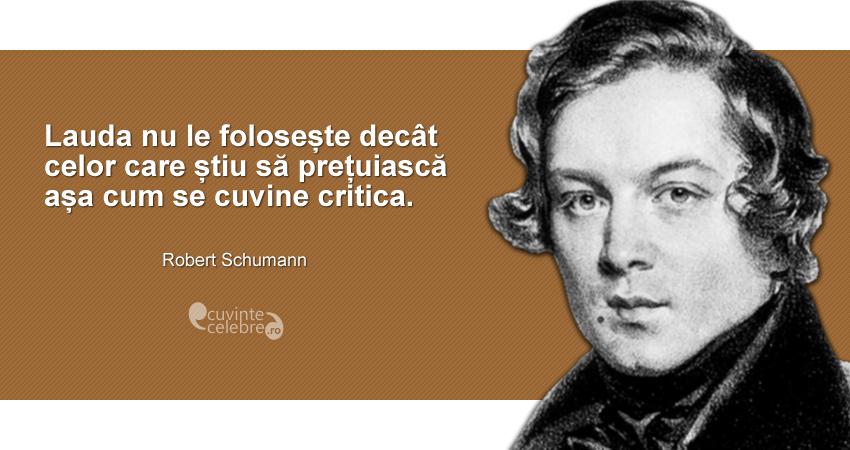 """""""Lauda nu le folosește decât celor care știu să prețuiască așa cum se cuvine critica."""" Robert Schumann"""