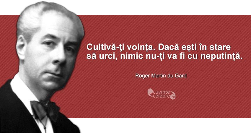 """""""Cultivă-ţi voința. Dacă ești în stare să urci, nimic nu-ți va fi cu neputință."""" Roger Martin du Gard"""