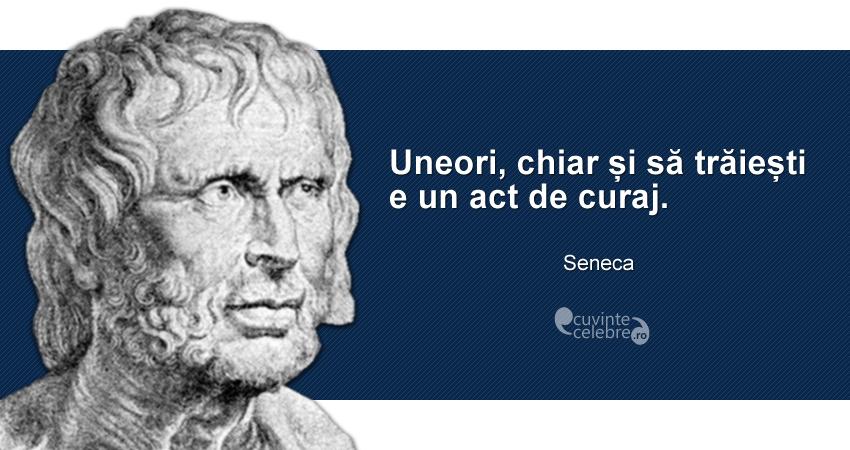 """""""Uneori, chiar și să trăiești e un act de curaj."""" Seneca"""