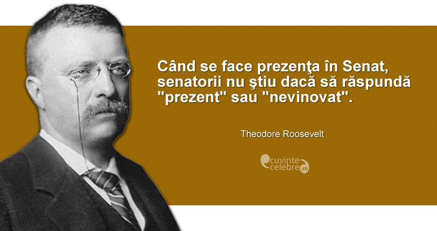 """""""Când se face prezenţa în Senat, senatorii nu ştiu dacă să răspundă «prezent» sau «nevinovat»."""" Theodore Roosevelt"""