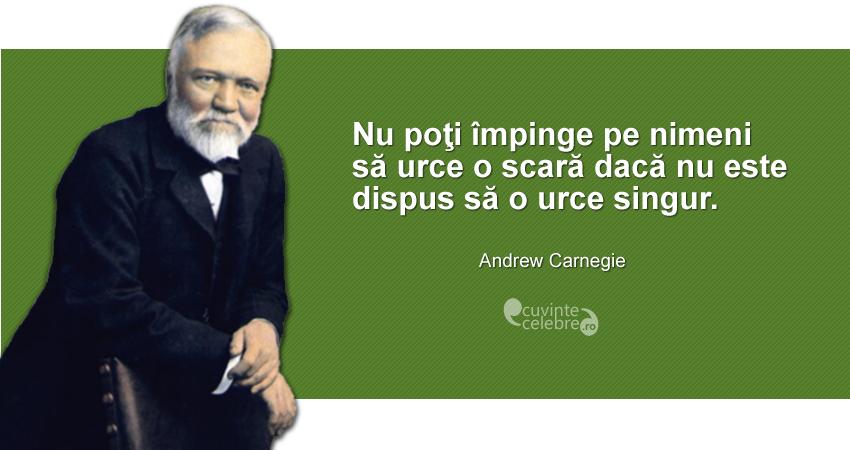 """""""Nu poţi împinge pe nimeni să urce o scară dacă nu este dispus să o urce singur."""" Andrew Carnegie"""