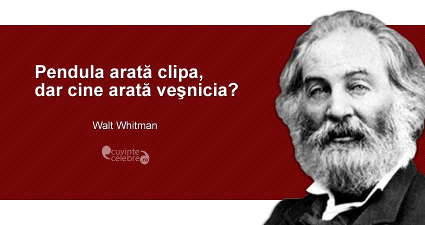 """""""Pendula arată clipa, dar cine arată veşnicia?"""" Walt Whitman"""