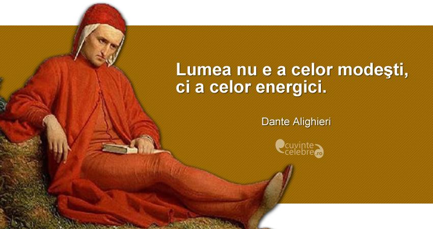 """""""Lumea nu e a celor modeşti, ci a celor energici."""" Dante Alighieri"""