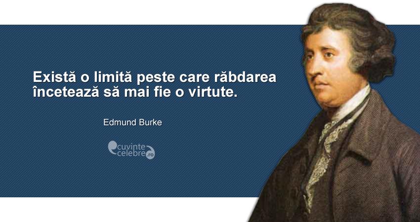 """""""Există o limită peste care răbdarea încetează să mai fie o virtute."""" Edmund Burke"""