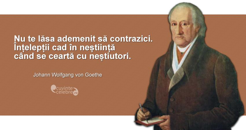"""""""Nu te lăsa ademenit să contrazici. Înțelepții cad în neștiință când se ceartă cu neștiutori."""" Johann Wolfgang von Goethe"""
