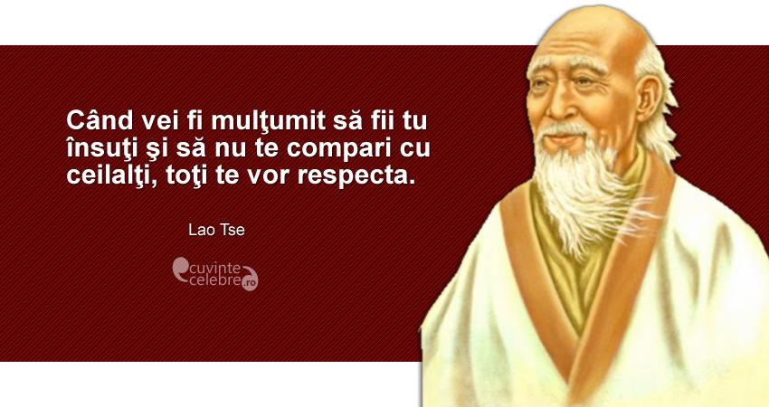 """""""Când vei fi mulţumit să fii tu însuţi şi să nu te compari cu ceilalţi, toţi te vor respecta."""" Lao Tse"""