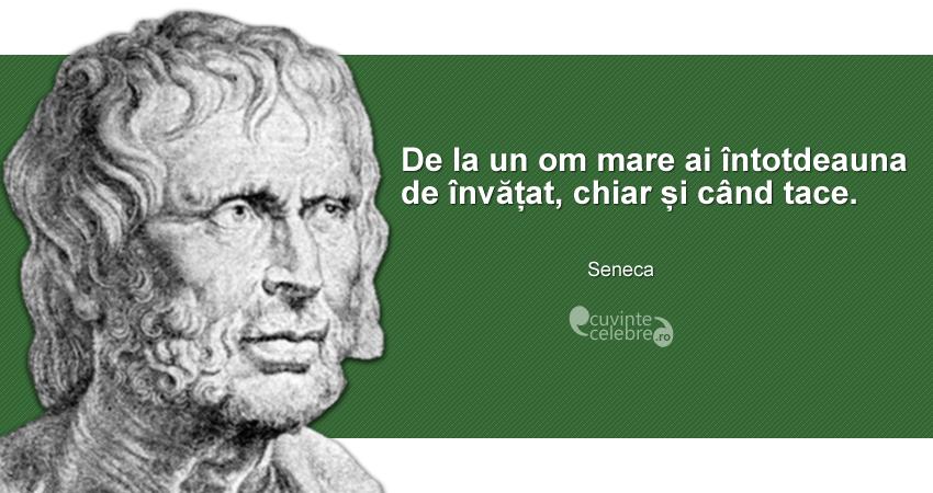 """""""De la un om mare ai întotdeauna de învățat, chiar și când tace."""" Seneca"""