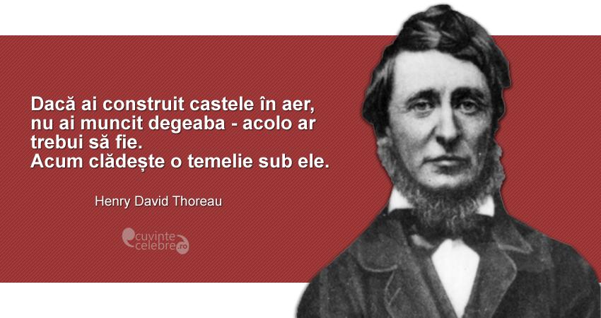 """""""Dacă ai construit castele în aer, nu ai muncit degeaba - acolo ar trebui să fie. Acum clădește o temelie sub ele."""" Henry David Thoreau"""