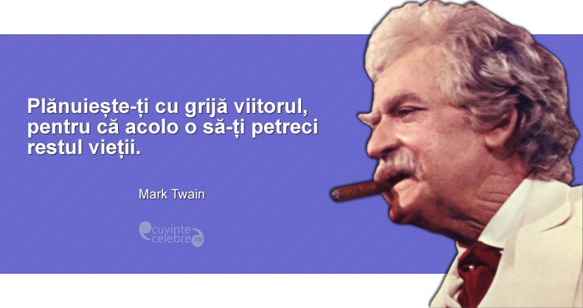 """""""Plănuiește-ți cu grijă viitorul, pentru că acolo o să-ți petreci restul vieții."""" Mark Twain"""