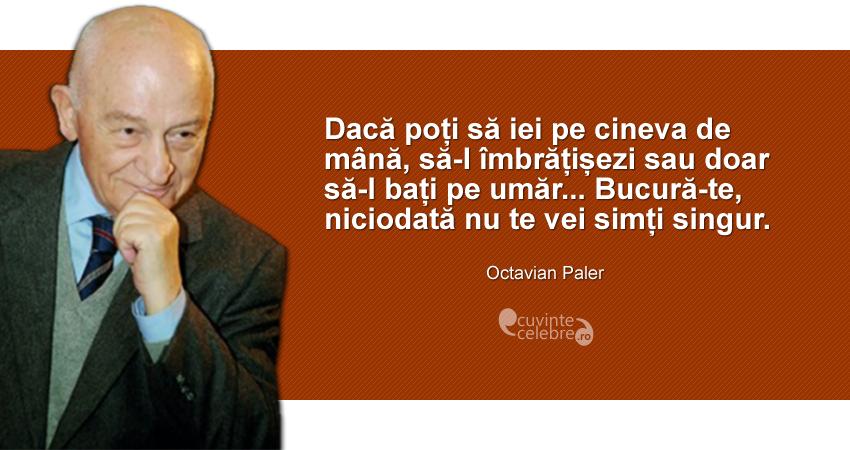 """""""Dacă poți să iei pe cineva de mână, să-l îmbrățișezi sau doar să-l bați pe umăr... Bucură-te, niciodată nu te vei simți singur."""" Octavian Paler"""