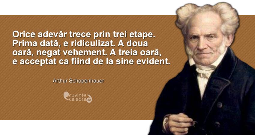 citate despre adevar Cele trei etape ale adevărului, citat de Arthur Schopenhauer citate despre adevar
