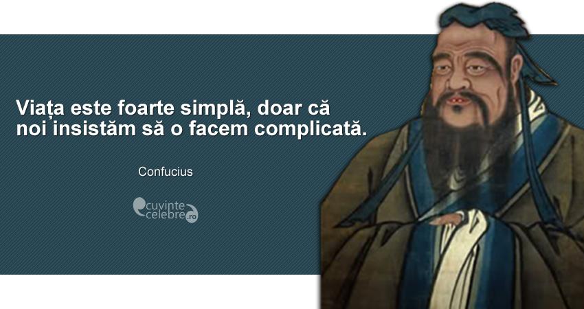 """""""Viața este foarte simplă, doar că noi insistăm să o facem complicată."""" Confucius"""