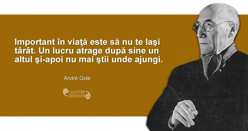 """""""Important în viaţă este să nu te laşi târât. Un lucru atrage după sine un altul şi-apoi nu mai ştii unde ajungi."""" André Gide"""
