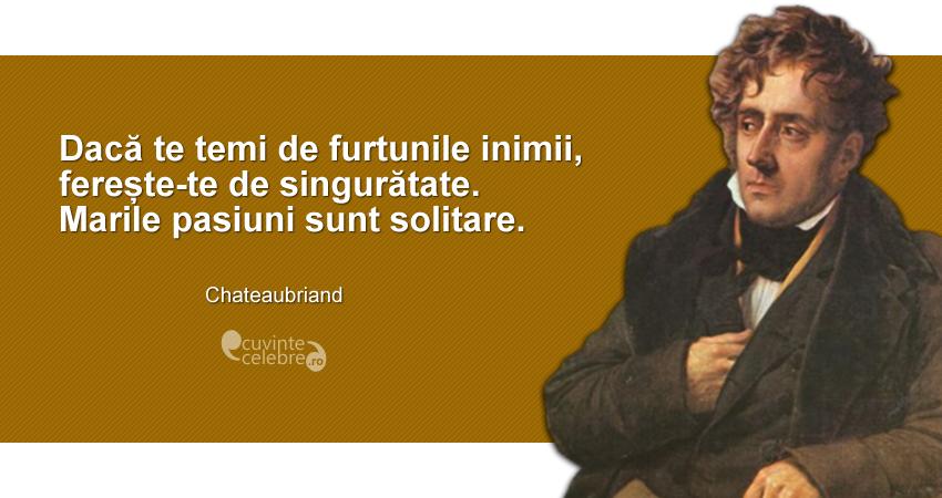 """""""Dacă te temi de furtunile inimii, ferește-te de singurătate. Marile pasiuni sunt solitare."""" Chateaubriand"""