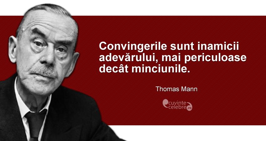 """""""Convingerile sunt inamicii adevărului, mai periculoase decât minciunile."""" Thomas Mann"""