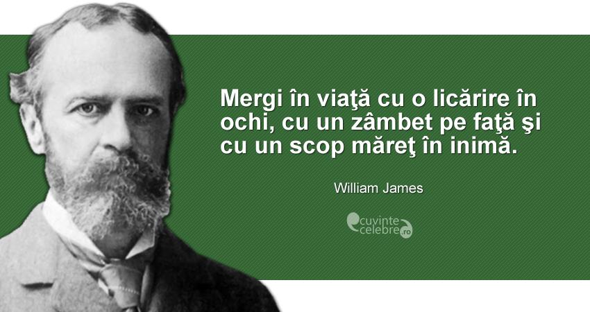 """""""Mergi în viaţă cu o licărire în ochi, cu un zâmbet pe faţă şi cu un scop măreţ în inimă."""" William James"""