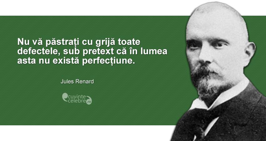 """""""Nu vă păstrați cu grijă toate defectele, sub pretext că în lumea asta nu există perfecțiune."""" Jules Renard"""