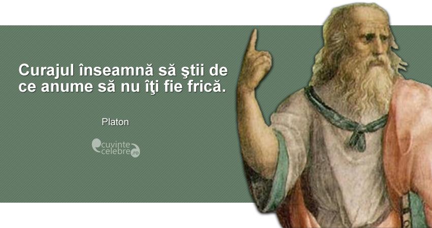 """""""Curajul înseamnă să ştii de ce anume să nu îţi fie frică."""" Platon"""