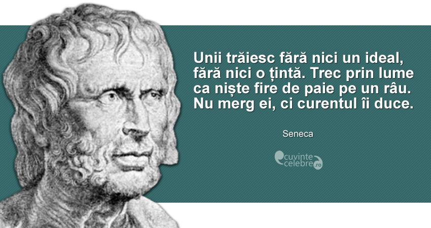 """""""Unii trăiesc fără nici un ideal, fără nici o țintă. Trec prin lume ca niște fire de paie pe un râu. Nu merg ei, ci curentul îi duce."""" Seneca"""
