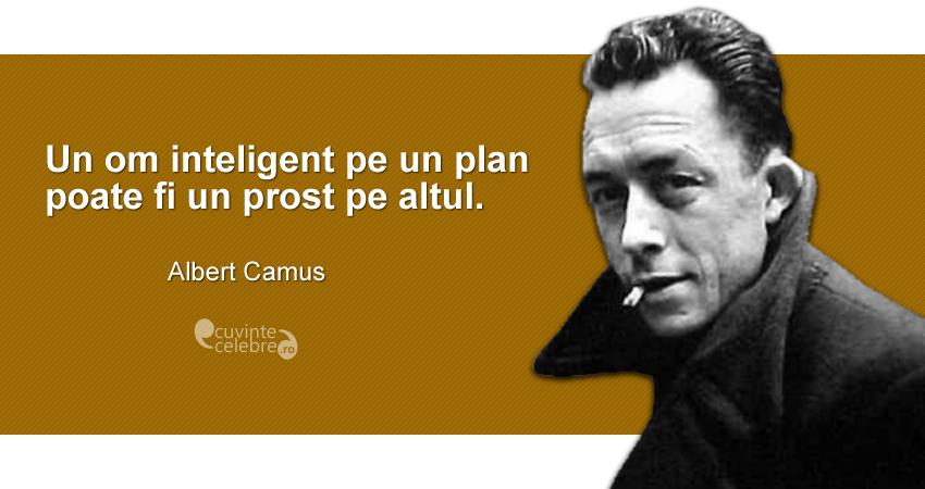"""""""Un om inteligent pe un plan poate fi un prost pe altul."""" Albert Camus"""