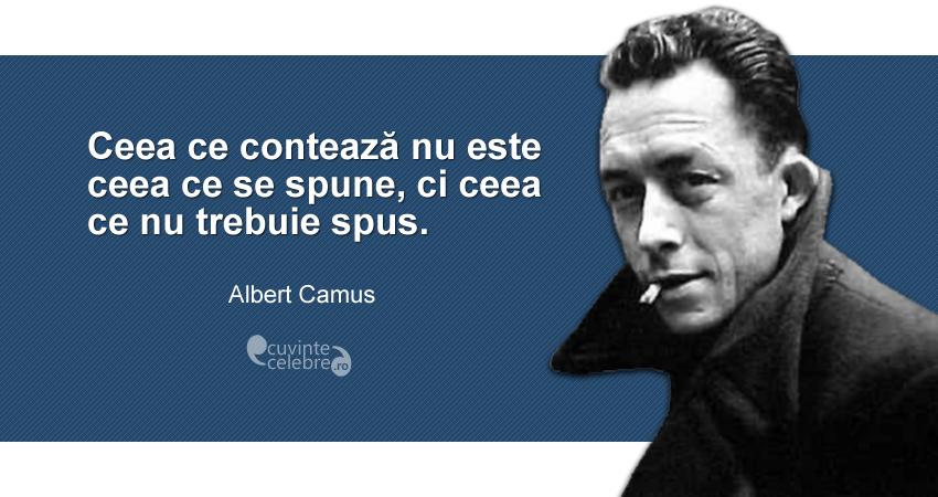 """""""Ceea ce contează nu este ceea ce se spune, ci ceea ce nu trebuie spus."""" Albert Camus"""