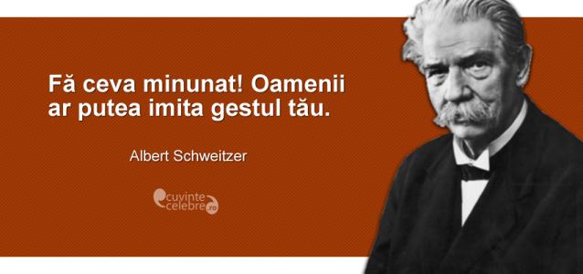 """""""Fă ceva minunat! Oamenii ar putea imita gestul tău."""" Albert Schweitzer"""
