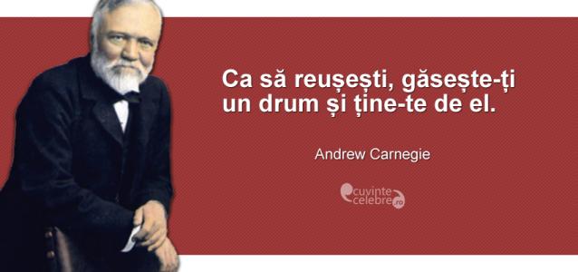 """""""Ca să reușești, găsește-ți un drum și ține-te de el."""" Andrew Carnegie"""