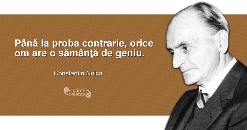 """""""Până la proba contrarie, orice om are o sămânţă de geniu."""" Constantin Noica"""