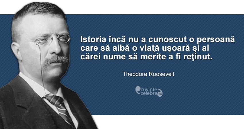 """""""Istoria încă nu a cunoscut o persoană care să aibă o viaţă uşoară şi al cărei nume să merite a fi reţinut."""" Theodore Roosevelt"""