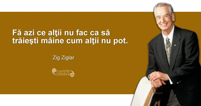 """""""Fă azi ce alţii nu fac ca să trăieşti mâine cum alţii nu pot."""" Zig Ziglar"""