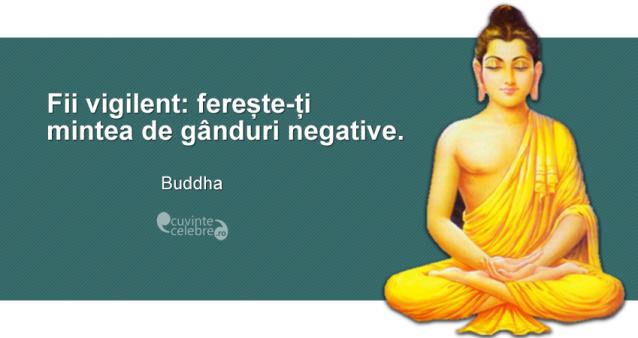 """""""Fii vigilent: ferește-ți mintea de gânduri negative."""" Buddha"""