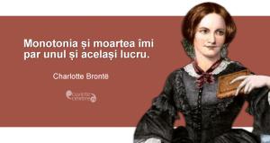 """""""Monotonia și moartea îmi par unul și același lucru."""" Charlotte Brontë"""