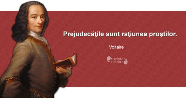 """""""Prejudecăţile sunt raţiunea proştilor."""" Voltaire"""