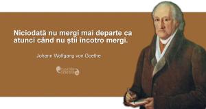 """""""Niciodată nu mergi mai departe ca atunci când nu știi încotro mergi."""" Johann Wolfgang von Goethe"""