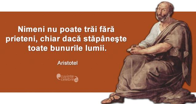"""""""Nimeni nu poate trăi fără prieteni, chiar dacă stăpâneşte toate bunurile lumii."""" Aristotel"""