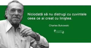 """""""Niciodată să nu distrugi cu cuvintele ceea ce ai creat cu liniştea."""" Charles Bukowski"""