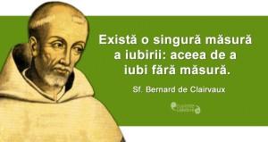 """""""Există o singură măsură a iubirii: aceea de a iubi fără măsură."""" Sf. Bernard de Clairvaux"""