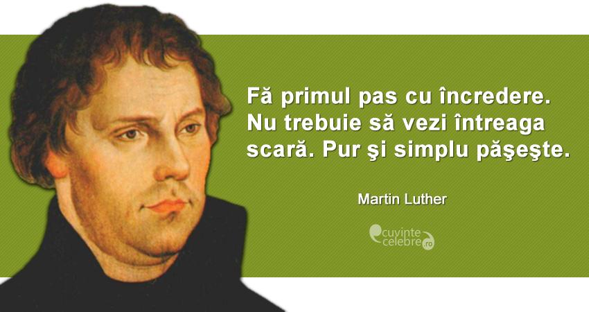 """""""Fă primul pas cu încredere. Nu trebuie să vezi întreaga scară. Pur şi simplu păşeşte."""" Martin Luther"""