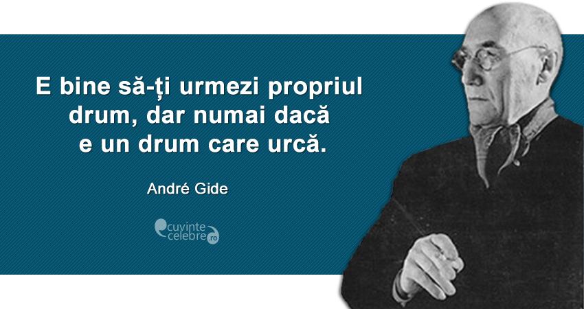 """""""E bine să-ți urmezi propriul drum, dar numai dacă e un drum care urcă."""" André Gide"""
