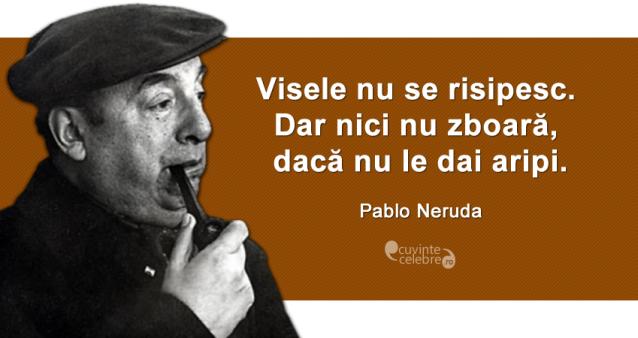 """""""Visele nu se risipesc. Dar nici nu zboară, dacă nu le dai aripi."""" Pablo Neruda"""