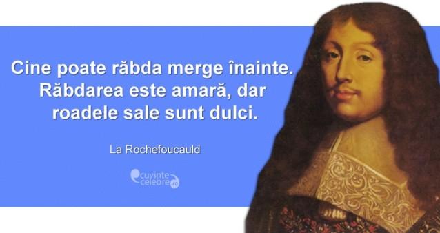 """""""Cine poate răbda merge înainte. Răbdarea este amară, dar roadele sale sunt dulci."""" La Rochefoucauld"""