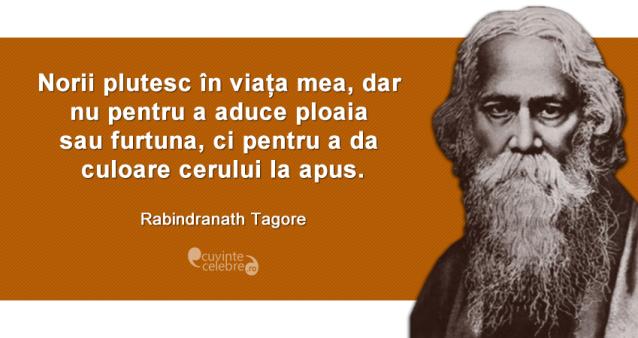 """""""Norii plutesc în viața mea, dar nu pentru a aduce ploaia sau furtuna, ci pentru a da culoare cerului la apus."""" Rabindranath Tagore"""