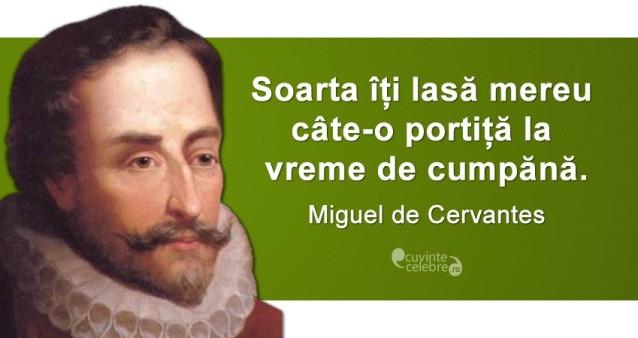 """""""Soarta îți lasă mereu câte-o portiță la vreme de cumpănă."""" Miguel de Cervantes"""