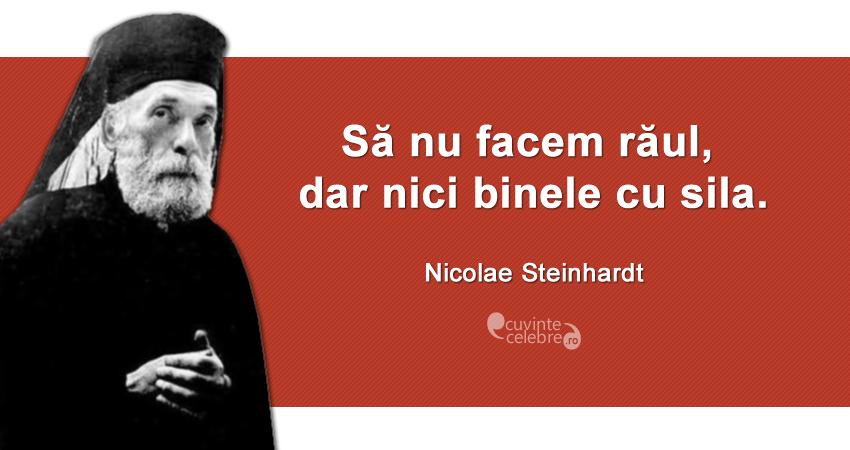 """""""Să nu facem răul, dar nici binele cu sila."""" Nicolae Steinhardt"""