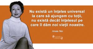 """""""Nu există un înţeles universal la care să ajungem cu toţii, nu există decât înţelesul pe care îl dăm noi vieţii noastre."""" Anais Nin"""
