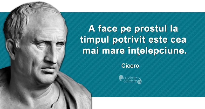 """""""A face pe prostul la timpul potrivit este cea mai mare înţelepciune."""" Cicero"""