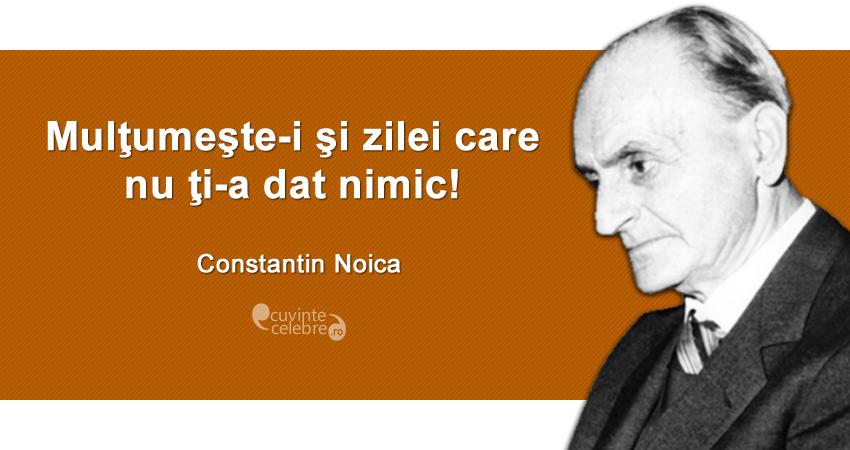 """""""Mulţumeşte-i şi zilei care nu ţi-a dat nimic!"""" Constantin Noica"""