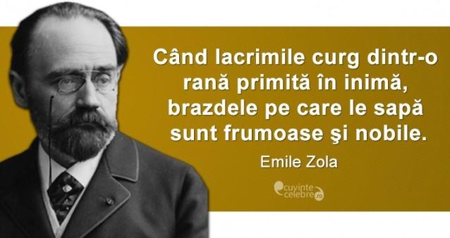 """""""Când lacrimile curg dintr-o rană primită în inimă, brazdele pe care le sapă sunt frumoase şi nobile."""" Emile Zola"""