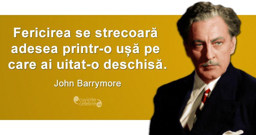 """""""Fericirea se strecoară adesea printr-o ușă pe care ai uitat-o deschisă."""" John Barrymore"""